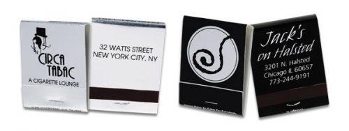 Custom 20-strike black on silver matchbooks