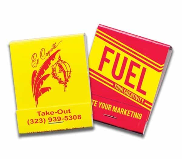 20-strike red ink on yellow board matchbooks