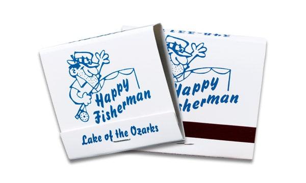 30-strike blue ink on white board matchbook.