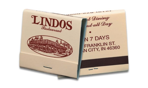 This is a picture of a 30-strike burgundy ink on beige board matchbook.