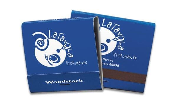 30-strike white on blue background matchbook.
