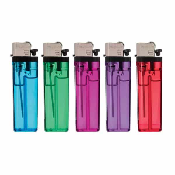 Back side of Transparent Standard Flint Cigarette Lighters