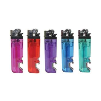 Assortment of Transparent Standard Lighters with Bottle Opener