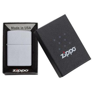 Boxed Satin Chrome Zippo Windproof Lighter