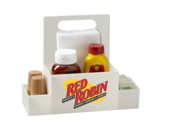 Three Compartment Plastic Condiment Caddy